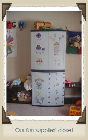 I decorated this cabinet! My daughters helped by drawing on the bottom of the  right door.